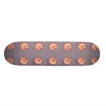 Pink pigs pattern on grey skateboard