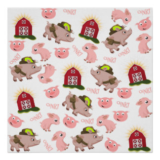 Pink Pigs Pattern Poster