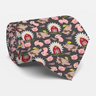 Pink Pigs Pattern Tie
