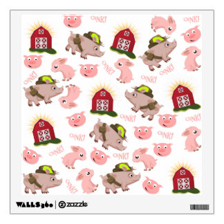 Pink Pigs Pattern Wall Decal