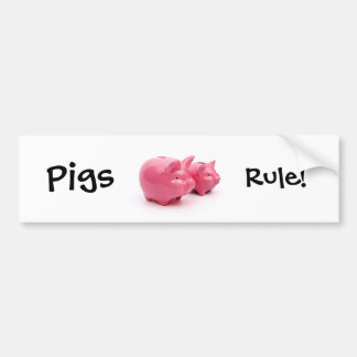 Pink Pigs Rule! Bumper Sticker