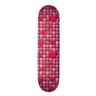 Pink Pile With Hearts Skateboard Deck
