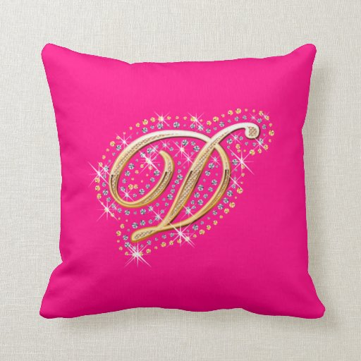 Pink Pillow with Initial D