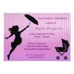 "Pink Pin-Striped Baby Shower Invitation 5"" X 7"" Invitation Card"