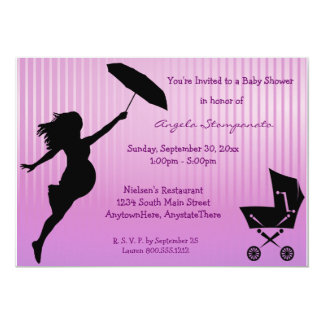 Pink Pin-Striped Baby Shower Invitation