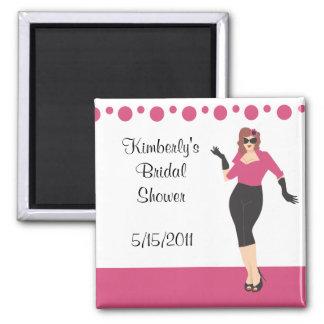 Pink pin up girl bridal shower magnet party favor