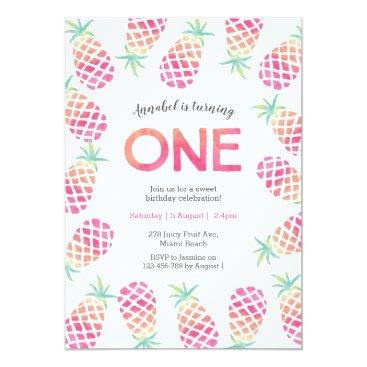 MiniMoiPrints Pink pinapple tropical birthday Invitation