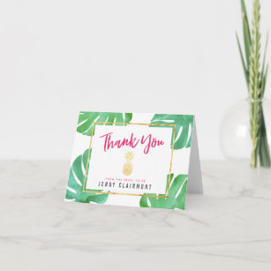 pink pineapple bridal shower thank you note card