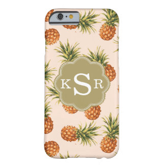 Pink Pineapple & Gold Personalized Barely There iPhone 6 Case