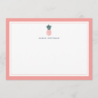 Pink Pineapple | Personalized Stationery Card
