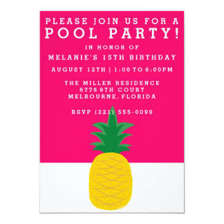 Pink Pineapple Pool Party Invitation
