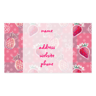 Pink Pineapple Strawberry Pattern Business Card Templates