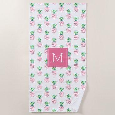 Beach Themed Pink Pineapples Monogrammed Beach Towel