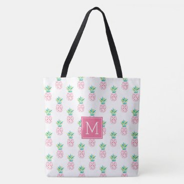 Beach Themed Pink Pineapples Monogrammed Tote Bag