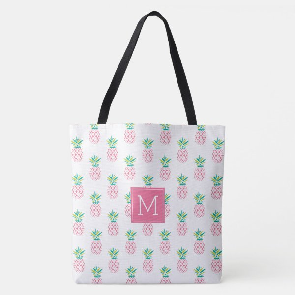 Pink Pineapples Monogrammed Tote Bag