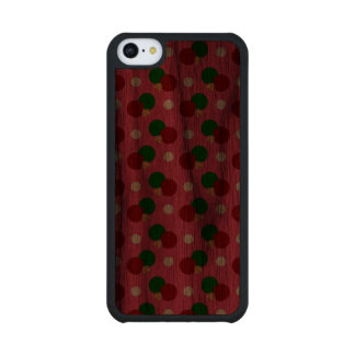 Pink ping pong pattern carved® walnut iPhone 5C slim case
