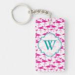 Pink pink Flamingo Monogram Keychain Rectangle Acrylic Key Chain
