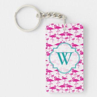 Pink pink Flamingo Monogram Keychain