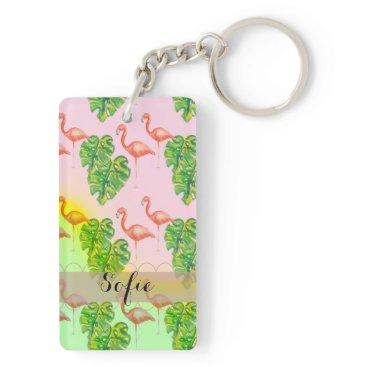 Beach Themed Pink pink Flamingo Monogram Keychain