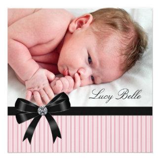 Pink Pinkstripe Baby Girl Photo Birth Personalized Invites