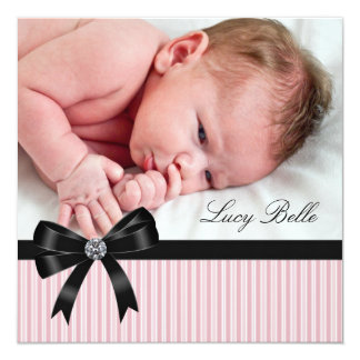 Pink Pinkstripe Baby Girl Photo Birth 5.25x5.25 Square Paper Invitation Card