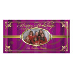 Pink Pinstripe Golden Faux Jewel Photo Cards