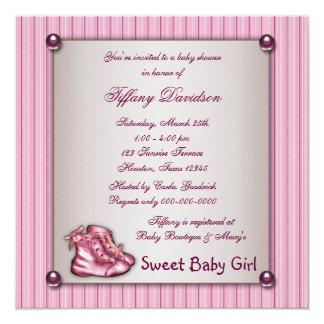 Pink Pinstripe Pink Booties Vintage Baby Girl Card