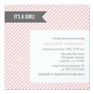 Pink Pinstripes Girl Baby Shower Card