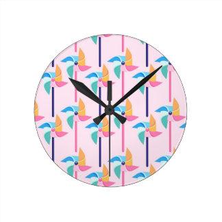 Pink Pinwheel Round Clock