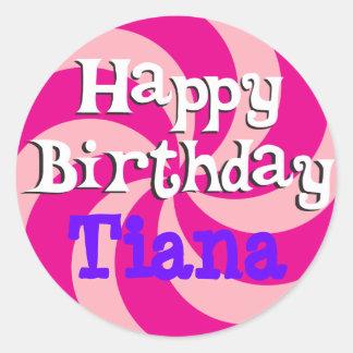 Pink Pinwheel Girly Birthday Badge Round Stickers