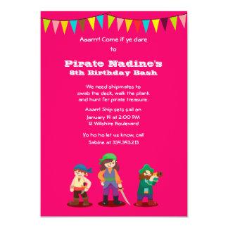 Pink Pirate Birthday Party Custom Invitation