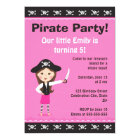 Pink pirate birthday party invitation