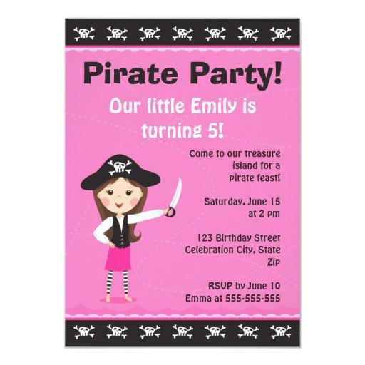 "Pink pirate birthday party invitation 5"" x 7"" invitation card"