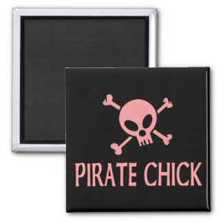 Pink Pirate Chick 2 Inch Square Magnet
