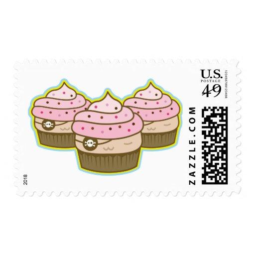 pink pirate cupcake postage stamps