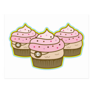 pink pirate cupcake postcard