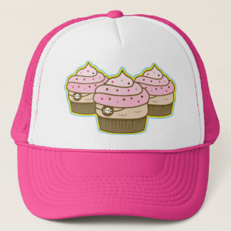 pink pirate cupcakes trucker hat