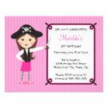 Pink pirate cute girly birthday invitation