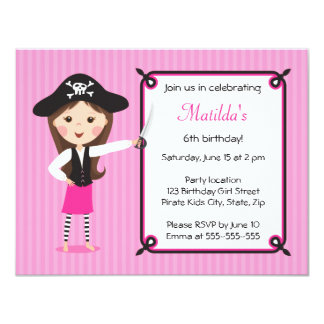 Pink pirate cute girly birthday invitation