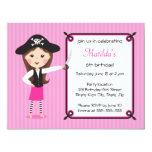 "Pink pirate cute girly birthday invitation 4.25"" x 5.5"" invitation card"