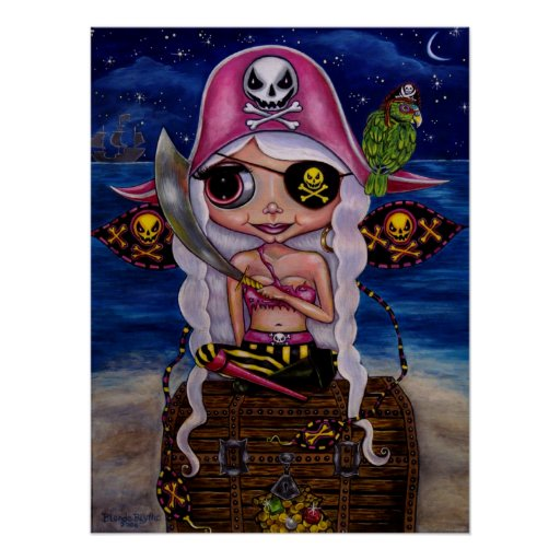 Pink Pirate Fairy with Treasure Poster