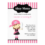 Pink Pirate Girl Birthday Invitations Personalized Announcements