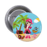 Pink Pirate Girl Birthday Party 2 Inch Round Button