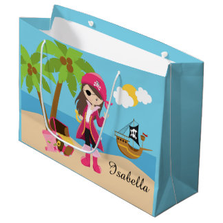 Pink Pirate Girl Birthday Party Large Gift Bag
