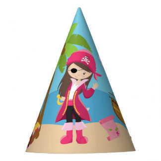 Pink Pirate Girl Birthday Party Party Hat