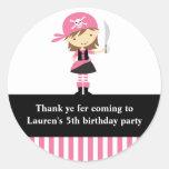Pink Pirate Girl Birthday Stickers