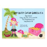 Pink Pirate Girl on an Island Birthday Invitation