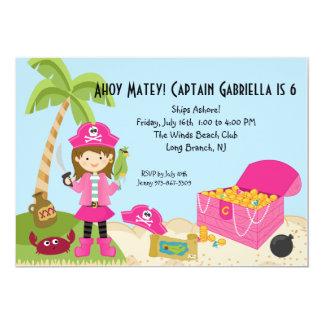 "Pink Pirate Girl on an Island Birthday Invitation 5"" X 7"" Invitation Card"