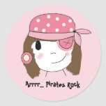 Pink Pirate Girl Round Stickers