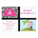 Pink Pirate Girl Squares Birthday Invitation